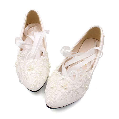Dress First Women's Strap Wedding Flat Bridal Shoes Low Heel Flats with Imitation Pearl White, 7.5