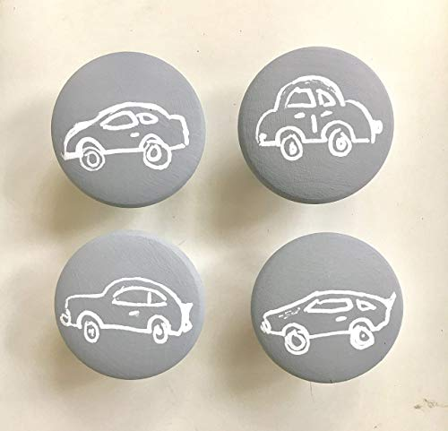(Set of 4 car knobs with screws, Hand-painted wooden knobs for cabinets, dresser, drawer pulls, any color custom/kids room/car lover/boys room / 4)