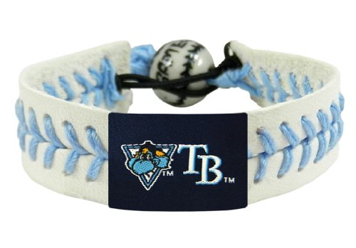 MLB Tampa Bay Rays Raymond Mascot Light Blue Thread Genuine Baseball Bracelet