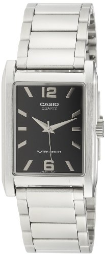 Casio Men's MTP1235D-1A Silver Stainless-Steel Quartz Watch with Black ()