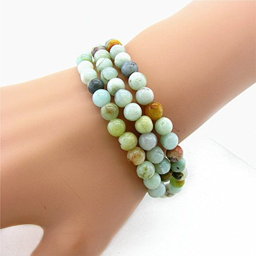 Jewelry Amazonite (Gem Stone King Stunning 6mm Round Amazonite Bead Stretchy Wrap Bracelet/Necklace)