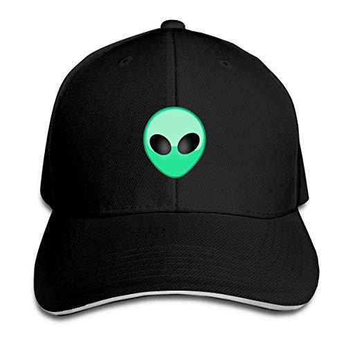 (Whenpigsfly Unisex Martian Green Aliens Peaked Sandwich Hat Sports Adjustable Baseball Cap Black)
