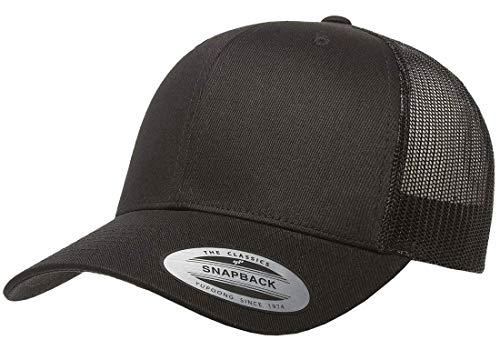 Flexfit/Yupoong Retro Trucker Snapback Cap | Mesh Back, Adjustable Ballcap w/Hat Liner ()