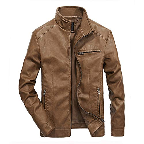 Men's Leather Jackets Stand Collar PU Coat Male Motorcycle Leather Jacket,Thick Khaki,5XL