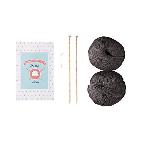 Knit Picks Learn to Knit Club: The Hat - Beginner Knitting Kit (Dark Grey)