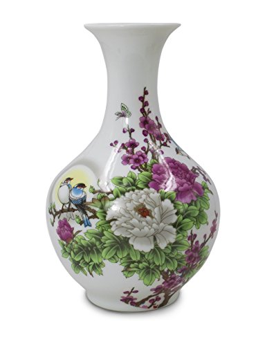 Dahlia Birds in Peony Bush Oriental Famille Rose Porcelain Flower Vase, 9 Inch Chinese Bottle Shaped