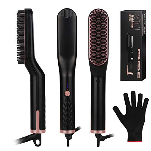 Hair Straightening Brush, Beard Straightener Brush, VEGKEY 3-in-1 Ionic Straightening Comb with Anti-Scald Feature Heat Resistant Glove Adjustable Temperatures, Ceramic Hair Comb for Men Women (Best Hair Straightening Method)