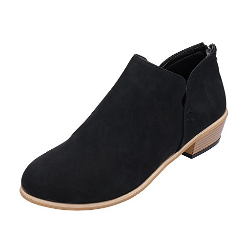 Londony ♪✿ Clearance Sales,Basel Boots for Womens Cut Out Closed Toe Ankle Solid Leather Martin Shoes Short Booties from Londony