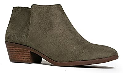 Western Ankle Boot- Cowgirl Low Heel Closed Toe Casual Bootie - Comfortable Walking Slip on Boot