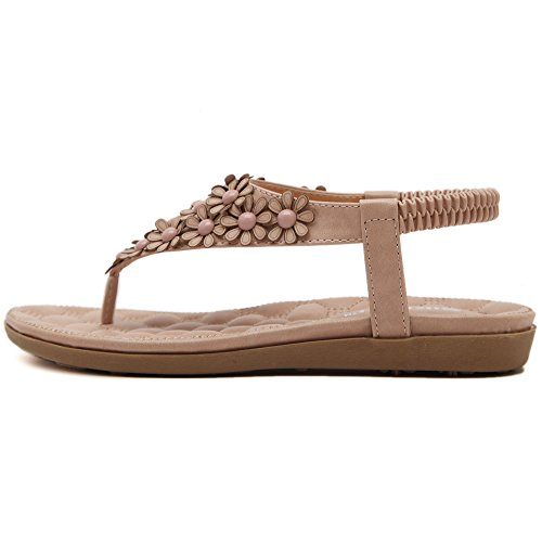 De las mujeres chancletas Zapatos de sandalia De Flores Bohemia estilos Rosado