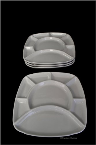 Set 4 pc Square Divided Chocolate/Cheese Fondue Plates with Fork ()