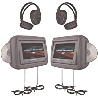 Power Acoustik Hdvd-9Gr 8.8 Preloaded Universal Headrest Monitors With Twin Dvd Combo & Headphones (Gray)
