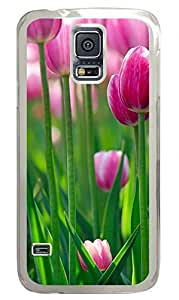 Pink Tulips Clear Hard Case Cover Skin For Samsung Galaxy S5 I9600