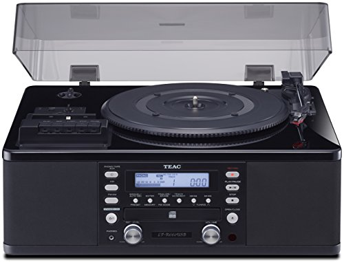 Teac LPR660USBPB LP-Cassette to CD Recorder/USB Home Theater Receiver, (Best Stereo Turntable Cassette Cds)