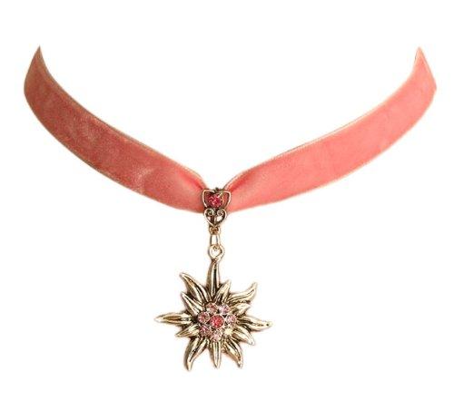 Trachtenschmuck Dirndl Edelweiss Kropfband aus Samt - rosa - Light Rose und Rose rosane Strasskristalle