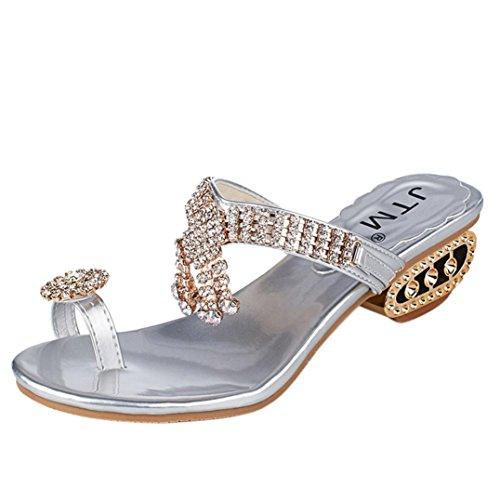 IGEMY Women Sandals Flip Flop Fashion Rhinestone Wedges Shoes Crystal High Heels Shoes Silver