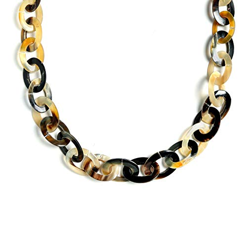 Bling Jewelry Earth Tone Brown Handmade Natural Buffalo Horn Long Oval Link Chain Necklace for Women 40 Inches ()