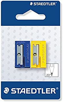STAEDTLER 510 50 BK2 - Afilalápices de plástico. Pack con 2 sacapuntas de colores.