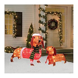 Christmas Dachshund Sausage Dog Set Of 2 Light Up Wiener Dogs