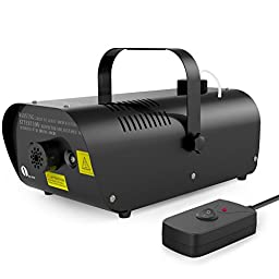 1byone 1500W Fog Machine with Wired Remote Control Fogger, 0.53 gal/2000ml Tank Capacity and Alarm Function, Black