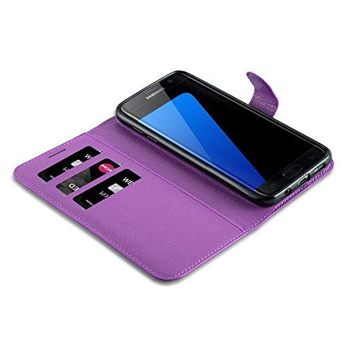Cadorabo - Funda Samsung Galaxy S7 EDGE Book Style de Cuero Sintético en Diseño Libro - Etui Case Cover Carcasa Caja Protección (con función de suporte y tarjetero) en NEGRO-FANTASMA VIOLETA-DE-MANGANESO