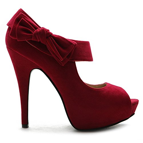 Toe Multi Red Open Women's Platform High Accent Ollio Heel Pump Ribbon Shoe Color B7nURI