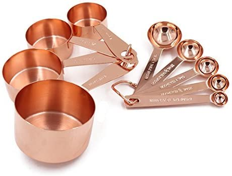 Copper Gram Copper Measuring Cups and Measuring Spoons Set of 9 Rustic Kitchen Accessories | Liquid or Dry Ingredients