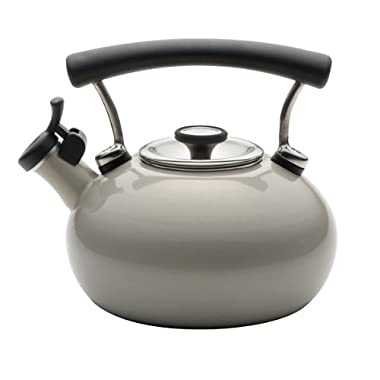 Circulon Contempo 2-Qt. Enamel Whistling Teakettle,Warm Silver