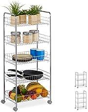 Relaxdays regał na kółkach, z poziomami, 4 kółka, uniwersalny wózek do kuchni, łazienki, biura, różne rozmiary, srebrny
