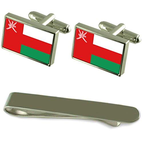 Drapeau Oman manchette argent gravé Cravate Cadeau