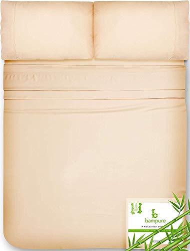 Bamboo Sheets King Size Sheets - 100% Organic Bamboo King Sheets Cooling Sheets King Deep Pocket King Bed Sheets King Size Sheet Set King Size Bed Sheets Extra Deep Pocket King Sheets Sand