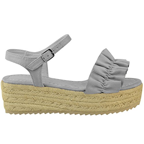 Fashion Thirsty heelberry Mujer Plataforma Plana Sandalias De Cuña con Volantes Verano Plataformas Zapatos Cómodo Talla Gris Cuero De Ante