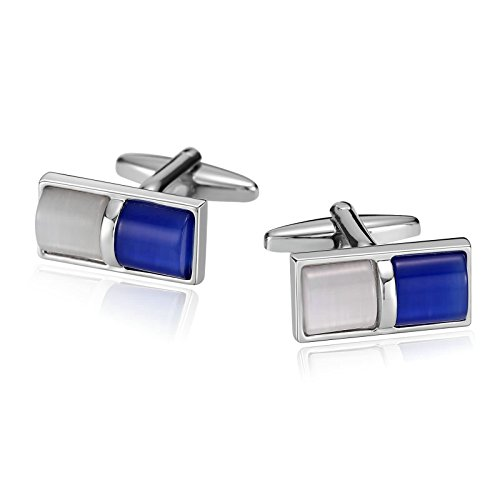 r Men Suitable for Business Anniversary Wedding Stainless Steel Rectangle Cat Eye Stone Cuff Links Blue White ()