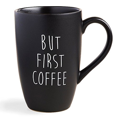 (World Market But First Coffee Mug - Black Matte Finish, Fun for Morning Hot and Cold Coffee-Best and Black Tea! - Collectibles and Gift-able Coffee Mug-Party Favors and Promotional Gift, 18 Ounce)
