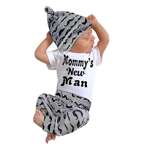 Baby Clothes Set, PPBUY Newborn Boy Romper Tops + Long Pants + Hat 3PCS Outfits Set (0-18M) (0/3M)