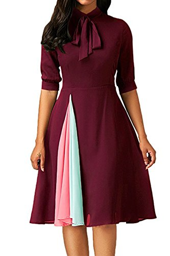 Pleated Tie Neck - Allfennler Women's Elegant Vintage Tie Neck Half Sleeve Pleated Contrast Color Swing Flare Dress Red-M