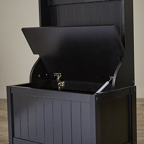 Hall Tree Lift Top Storage Panel Six Mirrors Accent the Back Panel Wood Materil Eco-Friendly Hooks Included Black Color Entryway Furniture by AVA Furniture