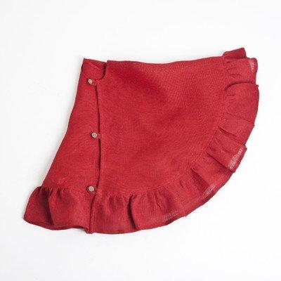 SARO LIFESTYLE 9613.R53R Burlap Round Tree Skirt, 53'', Red