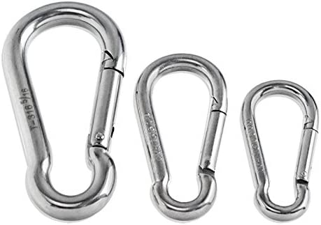 TTIO Carabiner Spring Snap Hook Galvanized Iron Stainless Steel Clips