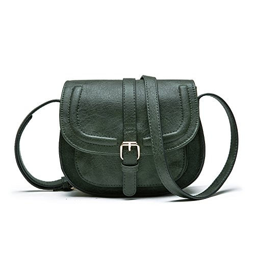 Green Small Bag Vintage Purse dark for Small Bag Crossbody PU Cover Satchel Olive Strap and with Saddle Hasp Long Leather Shoulder Women Adjustable xSxwBv5q