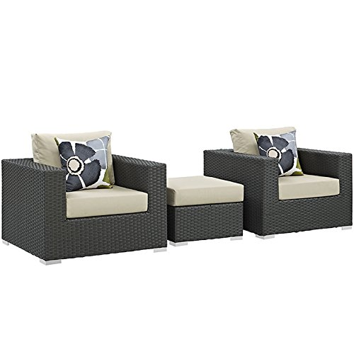 Modway Sojourn 3Piece Outdoor Patio Sunbrella Sectional Set in Canvas Antique Beige by Modway
