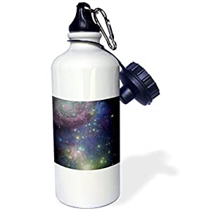 3dRose wb_112990_1 Stars Galaxies & Nebulas Navy Night Sky Blue & Purple Space Photography Collage Astronomy Sports Water Bottle, 21 oz, Brown