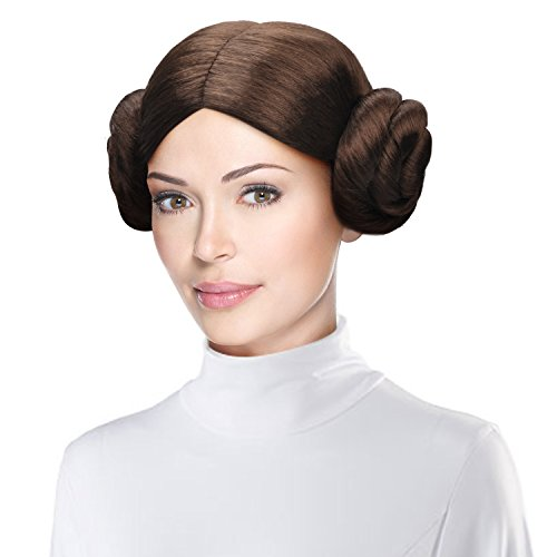 Women Costume Wig Party Hairpiece with 2 Buns for Cosplay Halloween,Brown
