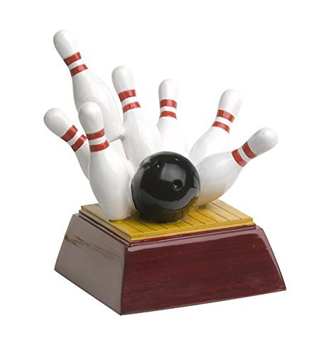 Decade Awards Bowling Pins Trophy, Small - Strike Award - 4 Inch Tall - Engraved Plate on Request (Pin Bowling Personalized)