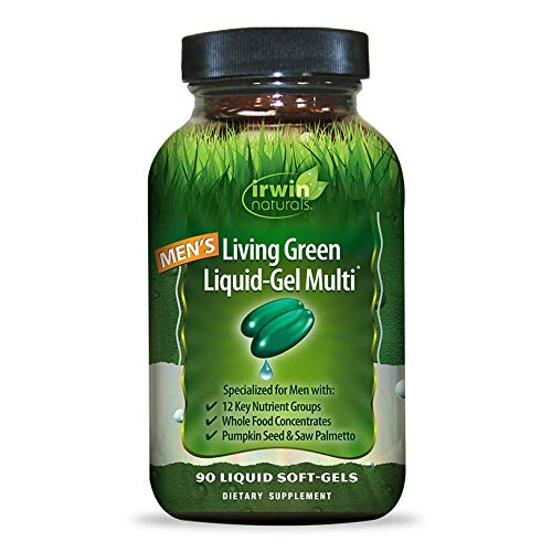 Irwin Naturals Men's Living Green Liquid-Gel Multi - 70 Essential Nutrients, Full-Spectrum Vitamins, Wholefood Blend - Targeted Adrenal & Brain Support - 90 Liquid Softgels