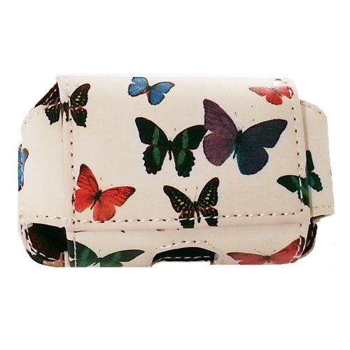 """Insulin Pump Carrying Case / Pouch with Belt Clip / Belt Loops with Unique Designs (Small-A660: L3.65"""" X W2.25"""" X D1.0"""")) (Butterflies)"""