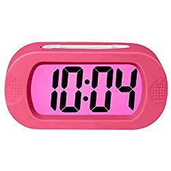 Rosa Schleife Electronic Digital Alarm Clock, Colorful Light Travel Digital Alarm Morning Clock Battery Operated with Repeating Snooze Large Display Progressive Alarm Night Light Home Alarm Clock