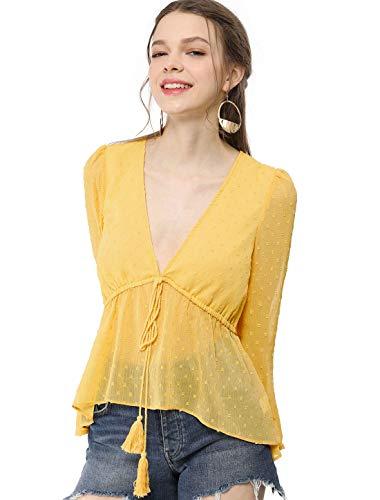(Allegra K Women's Deep V Neck Drawstring Ruffled Swiss Dots Long Sleeves Sheer Chiffon Blouse Top M Yellow)