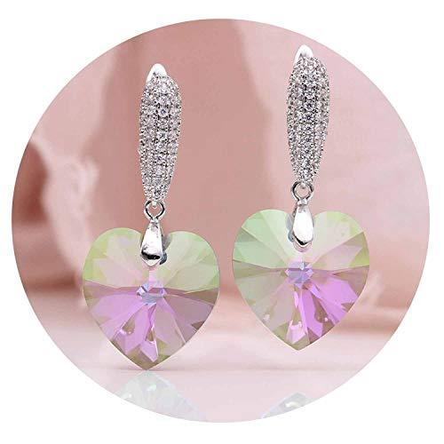 Symphony Love Long Earring True White Gold CZ Austria Crystal Drop Earrings Women Fashion Wedding Noble Cute Jewelry,AB Symphony