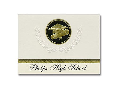 Signature Announcements Phelps High School (Phelps, WI) Graduation Announcements, Presidential style, Elite package of 25 Cap & Diploma Seal Black & Gold ()
